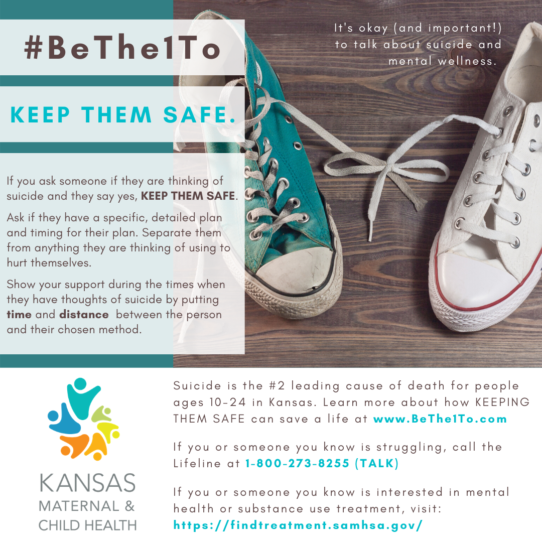 Keep them safe graphic - teal and white