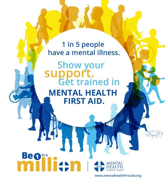 Poster by Mental Health First Aid. 1 in 5 people have a mental illness. Show your support. Get trained in mental health first aid.